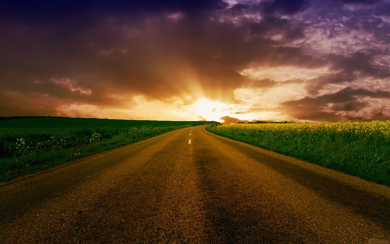 road into sunrise